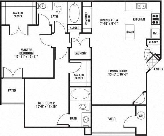 Floor Plan  2 bedroom 2 bath Floor Plan at The Preserve at Rock Springs, Rock Springs, 82901