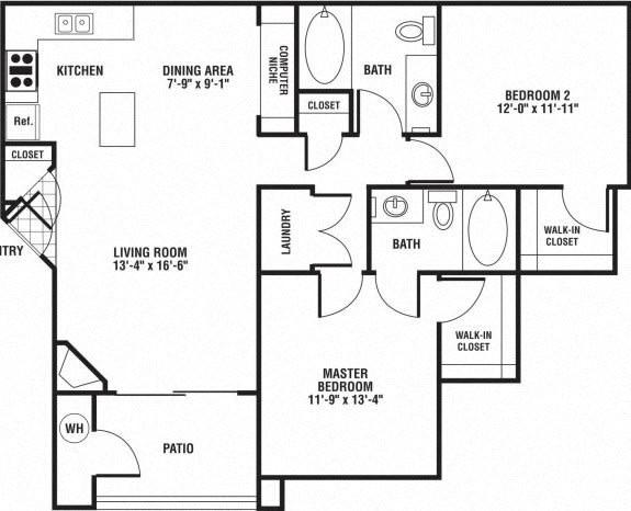Floor Plan  2 Bed 2 Bath Floor Plan at The Preserve at Rock Springs, Rock Springs, WY, 82901