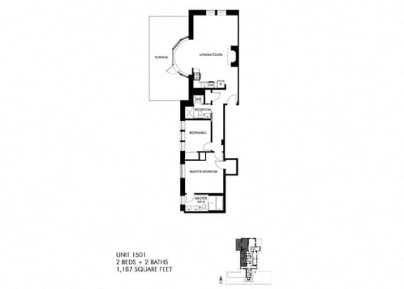 The Penthouse 1187 SQFT Floor Plan at Park Heights by the Lake Apartments, Chicago, 60649
