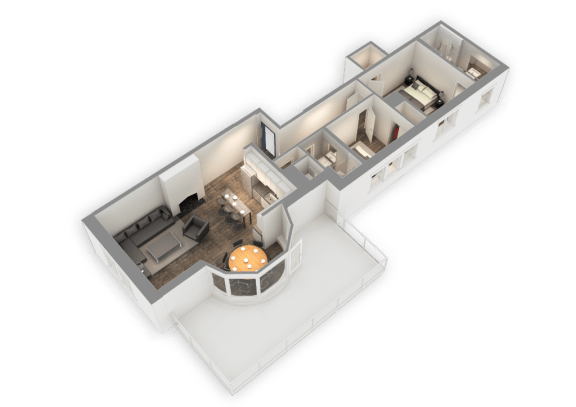 Floor Plan  The Penthouse 1187 SQFT 3D View at Park Heights by the Lake Apartments, Illinois, 60649