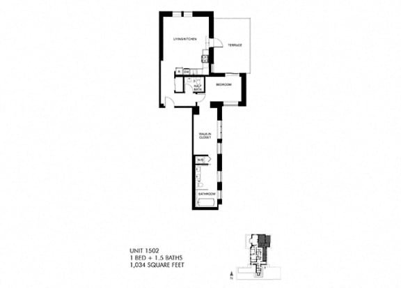The Penthouse 1034 SQFT Floor Plan at Park Heights by the Lake Apartments, Chicago