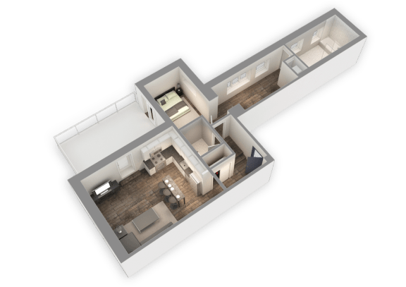 Floor Plan  The Penthouse 1034 SQFT 3D View at Park Heights by the Lake Apartments, Illinois