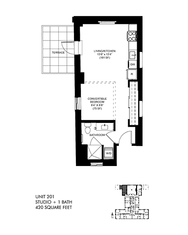 Large 566 SQFT Junior Floor Plan at Park Heights by the Lake Apartments, Chicago, 60649