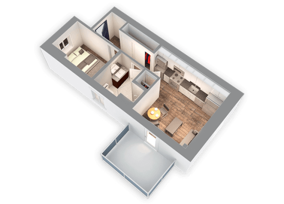 586 SQFT Junior 3D View Floor Plan at Park Heights by the Lake Apartments, Chicago, Illinois
