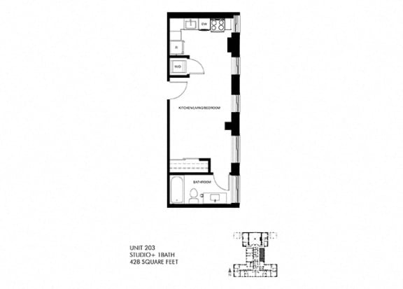 428 SQFT Studio Floor Plan at Park Heights by the Lake Apartments, Chicago, IL
