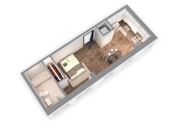 Floor Plan  428 SQFT Studio 3D View at Park Heights by the Lake Apartments, Chicago, IL