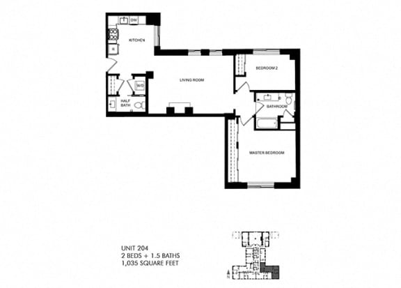 2 Bed 1.5 Bath Floor Plan at Park Heights by the Lake Apartments, Chicago