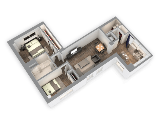 Floor Plan  1035 SQFT 2 Bed 1.5 Bath 3D View Floor Plan at Park Heights by the Lake Apartments, Illinois, 60649