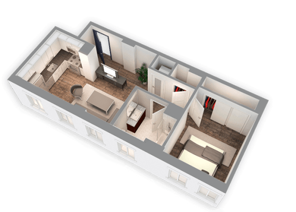 Floor Plan  625 SQFT 1 Bed 1 Bath 3D View Floor Plan at Park Heights by the Lake Apartments, Illinois, 60649