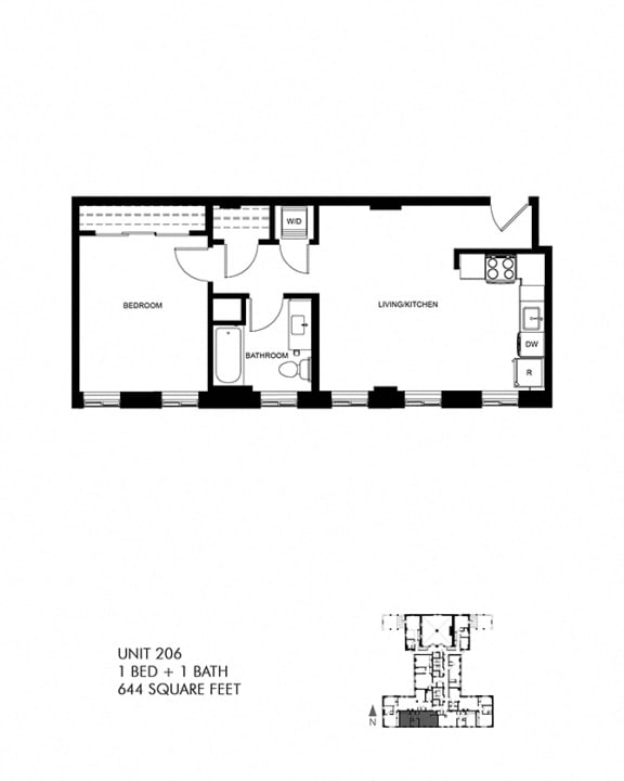 644 SQFT 1 Bed 1 Bath Floor Plan at Park Heights by the Lake Apartments, Illinois