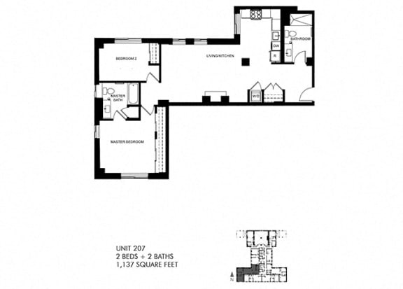 1137 SQFT 2 Bed 2 Bath Floor Plan at Park Heights by the Lake Apartments, Illinois