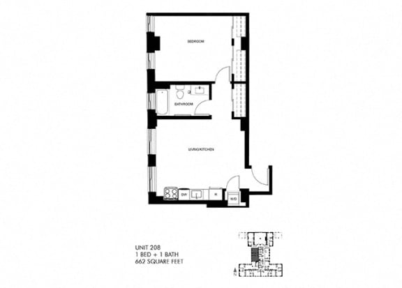 662 SQFT 1 Bed 1 Bath Floor Plan at Park Heights by the Lake Apartments, Chicago, Illinois