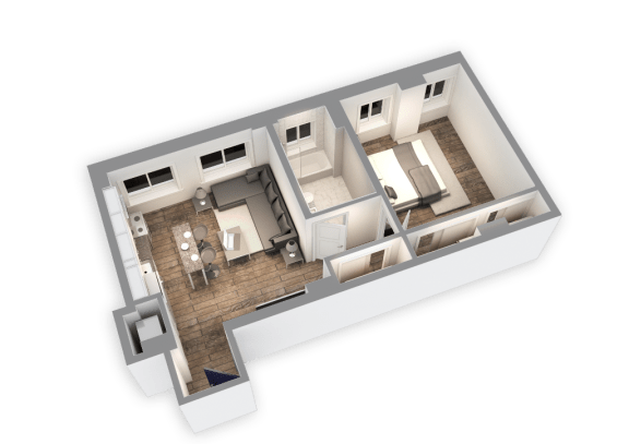 Floor Plan  662 SQFT 1 Bed 1 Bath 3D View Floor Plan at Park Heights by the Lake Apartments, Chicago, Illinois