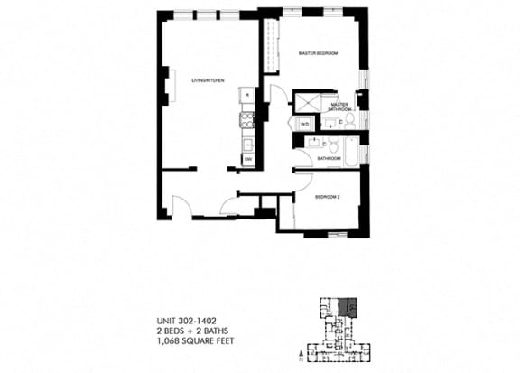 1068 SQFT 2 Bed 2 Bath Floor Plan at Park Heights by the Lake Apartments, Chicago, IL