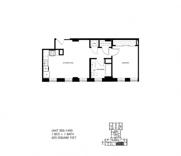 625 SQFT 1 Bed 1 Bath Floor Plan Available at Park Heights by the Lake Apartments, Chicago