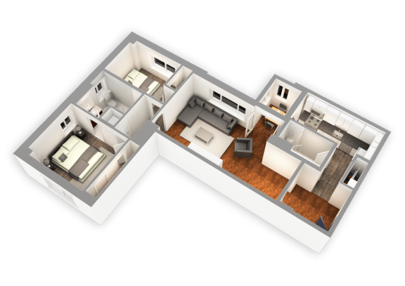 Floor Plan  1174 SQFT 2 Bed 2 Bath 3D View at Park Heights by the Lake Apartments, Chicago