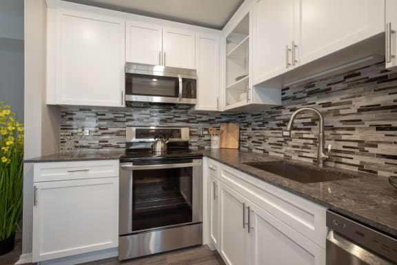 Classic Cupboards In Kitchen at Park Heights by the Lake Apartments, Chicago, 60649
