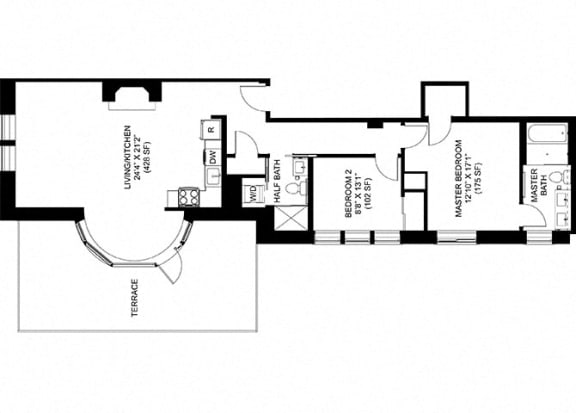 2 Bedroom 2 Bathroom Floor Plan at Park Heights by the Lake Apartments, Chicago, Illinois
