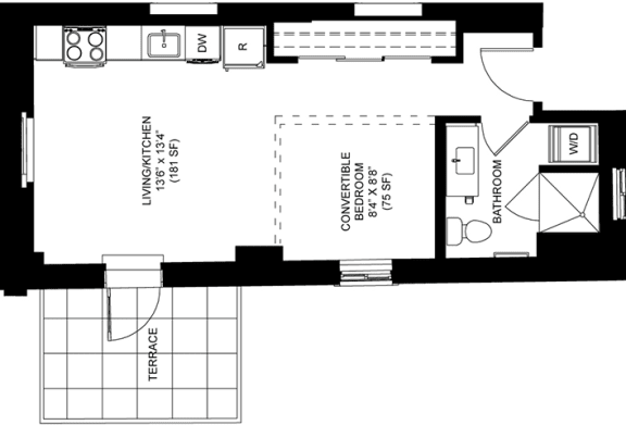 Spacious 566 SQFT Junior Floor Plan at Park Heights by the Lake Apartments, Chicago, Illinois