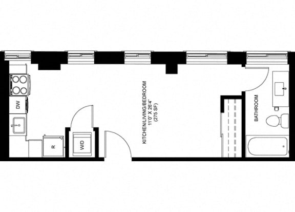 Studio Floor Plan at Park Heights by the Lake Apartments, Chicago, IL, 60649
