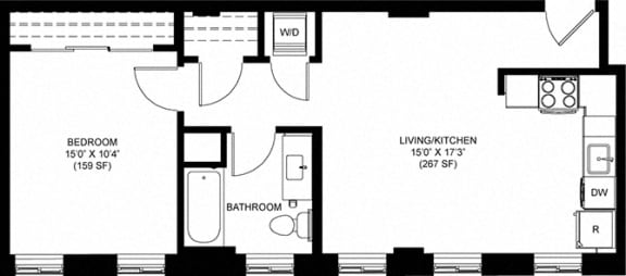Attractive 644 SQFT 1 Bed 1 Bath Floor Plan at Park Heights by the Lake Apartments, Chicago, 60649