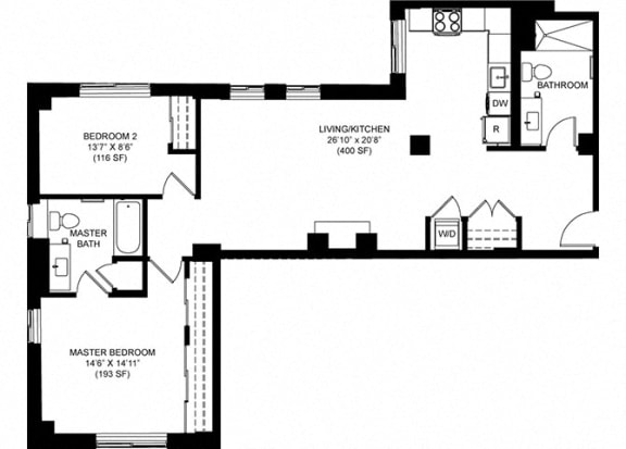 2 Bedroom 2 Bathroom Floor Plan at Park Heights by the Lake Apartments, Chicago