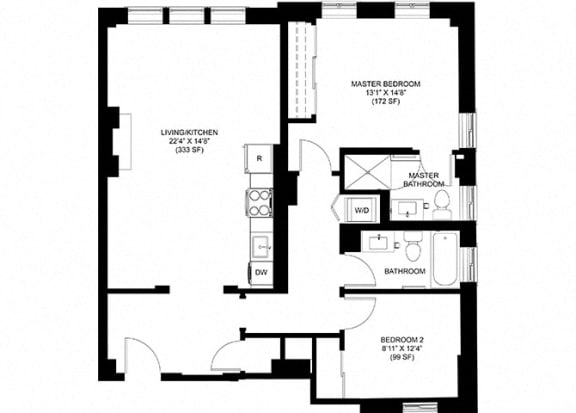 2 Bed 2 Bath Floor Plan at Park Heights by the Lake Apartments, Chicago, IL, 60649