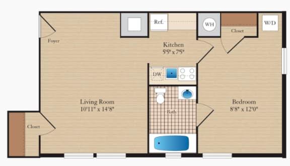 1 Bed 1 Bath A01-II Floor Plan at Myerton, Arlington, VA