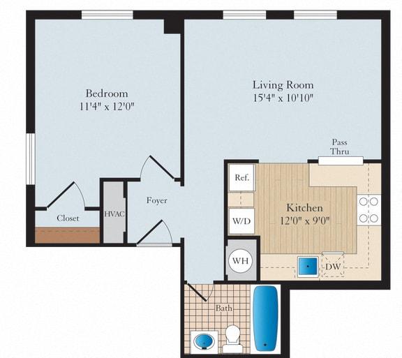 1 Bed 1 Bath A02 Floor Plan at Myerton, Arlington, VA, 22204