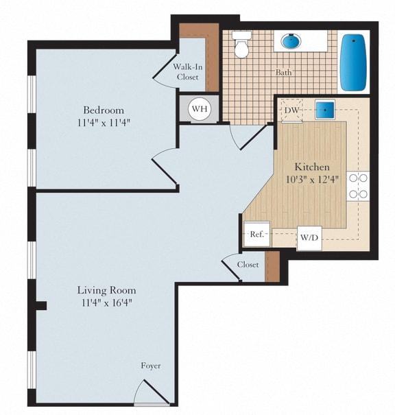 1 Bed 1 Bath A06 Floor Plan at Myerton, Arlington