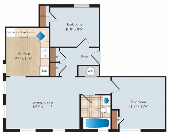 1 Bed 1 Bath AD01 Floor Plan at Myerton, Arlington, VA, 22204