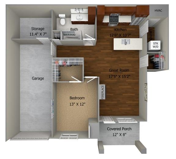 1 Bedroom/1 Bath (839 sf) Floor Plan at Cedar Place Apartments, Wisconsin, 53012