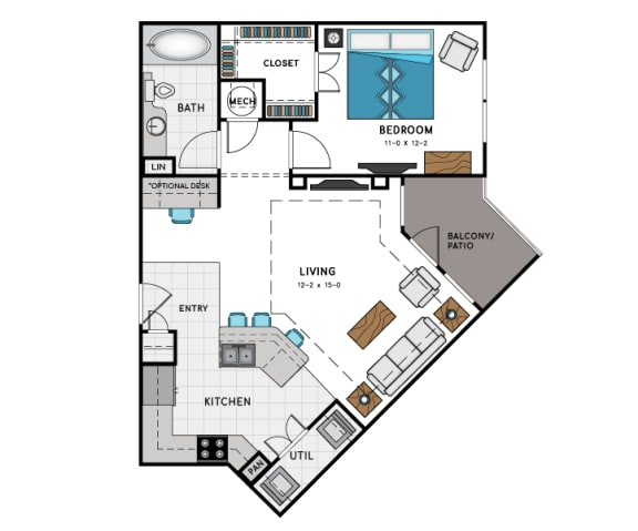 1 Bed 1 Bath A4 Floor Plan at Westside Heights, Atlanta