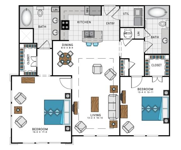 2 Bed 2 Bath B6 Floor Plan at Westside Heights, Atlanta, Georgia
