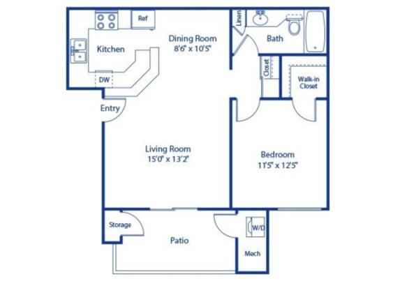 1 Bedroom 1 Bath Palmetto Updated Floor Plan at Solterra at Civic Center, California
