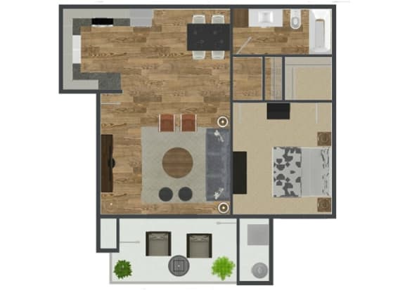 Floor Plan  1 Bed 1 Bath Palmetto Floor Plan at Solterra at Civic Center, Norwalk, CA, 90650