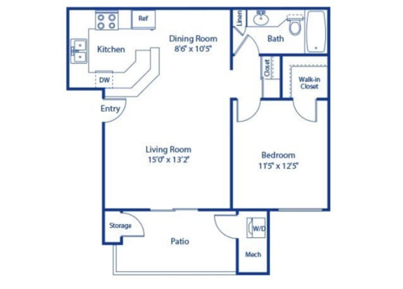 1 Bed 1 Bath Palmetto Floor Plan at Solterra at Civic Center, Norwalk, CA