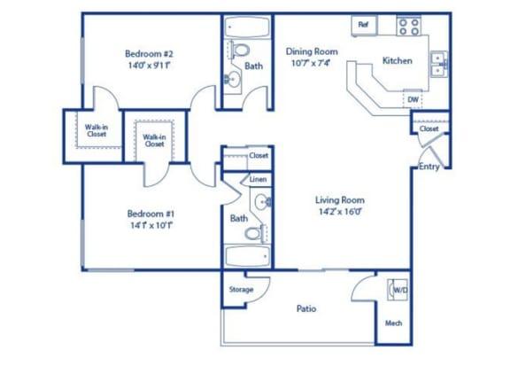 2 Bedroom 2 Bath Floor Plan at Solterra at Civic Center, California