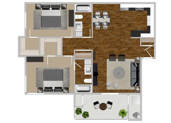Floor Plan  2 Bed 2 Bath Jacaranda Floor Plan at Solterra at Civic Center, Norwalk