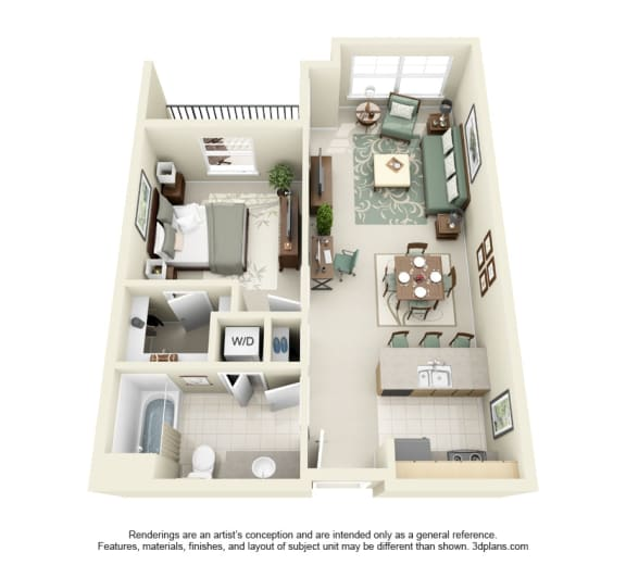 1 Bed 1 Bath 1x1 Floor Plan 702 sq ft at Domaine at Villebois , Oregon