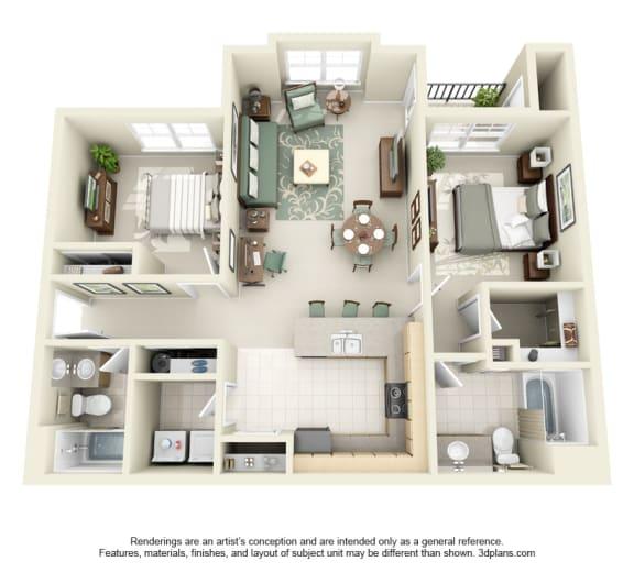 2 Bed 2 Bath 2x2 Floor Plan 1023 sq ft at Domaine at Villebois , Wilsonville, 97070