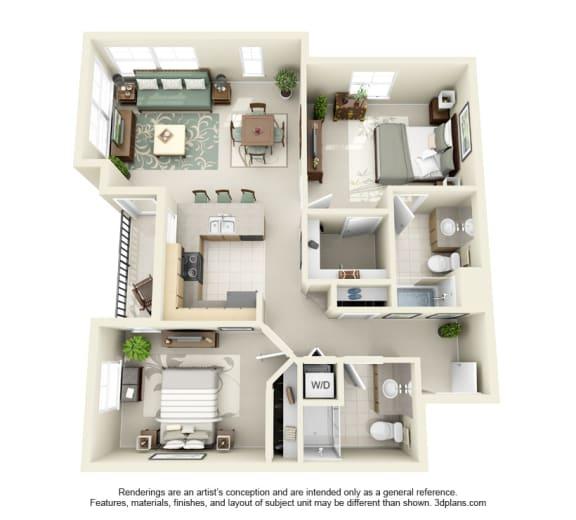 2 Bed 2 Bath 2x2 Floor Plan 992 sq ft at Domaine at Villebois , Wilsonville, Oregon