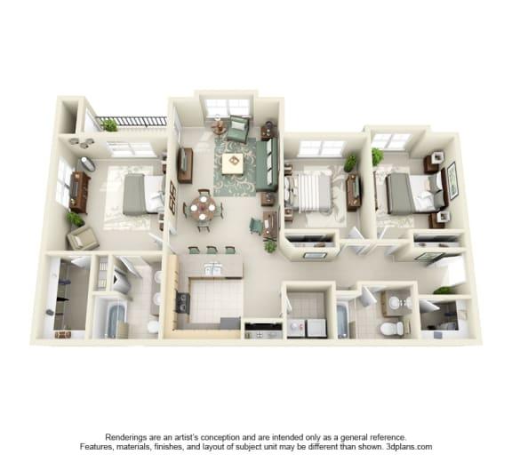 3 Bed 2 Bath 3x2 Floor Plan 1425 sq ft at Domaine at Villebois , Wilsonville, OR, 97070
