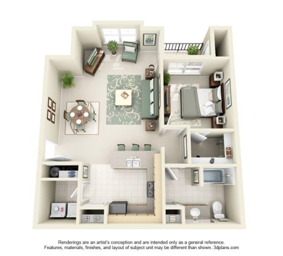 1 Bed 1 Bath 1x1 Floor Plan 819 sq ft at Domaine at Villebois , Wilsonville, Oregon