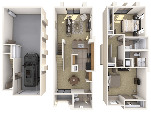 TH3 Premier - 2 Bedroom 2 Bath Floor Plan Layout – 1321 Square Feet