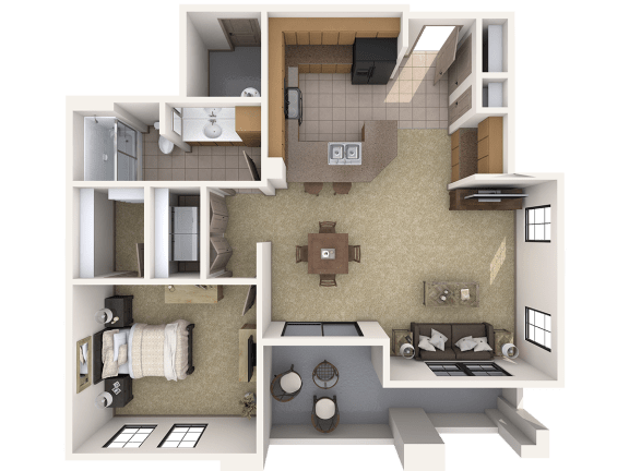 A1 Premier - 1 Bedroom 1 Bath Floor Plan Layout – 848 Square Feet