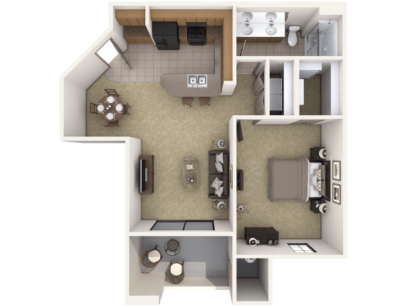 A2 Premier - 1 Bedroom 1 Bath Floor Plan Layout – 876 Square Feet