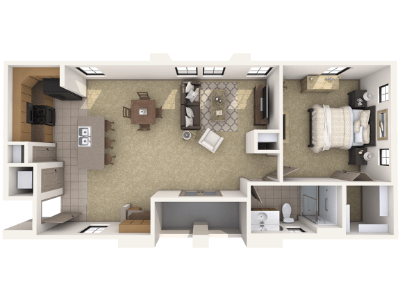 A4L Premier - 1 Bedroom 1 Bath Floor Plan Layout – 980 Square Feet