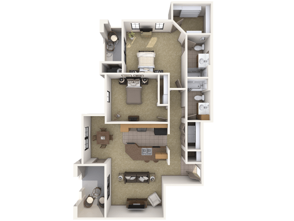 B3 Premier - 2 Bedroom 2 Bath Floor Plan Layout – 1140 Square Feet