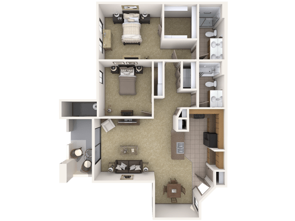 B5 Premier - 2 Bedroom 2 Bath Floor Plan Layout – 1194 Square Feet